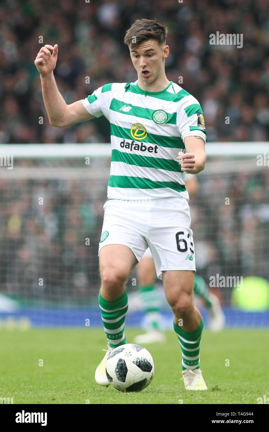 Glasgow, Scotland - April 14. Kieran Tierney of Celtic during the William Hill Scottish Cup semi final between Celtic and Aberdeen - Stock Image