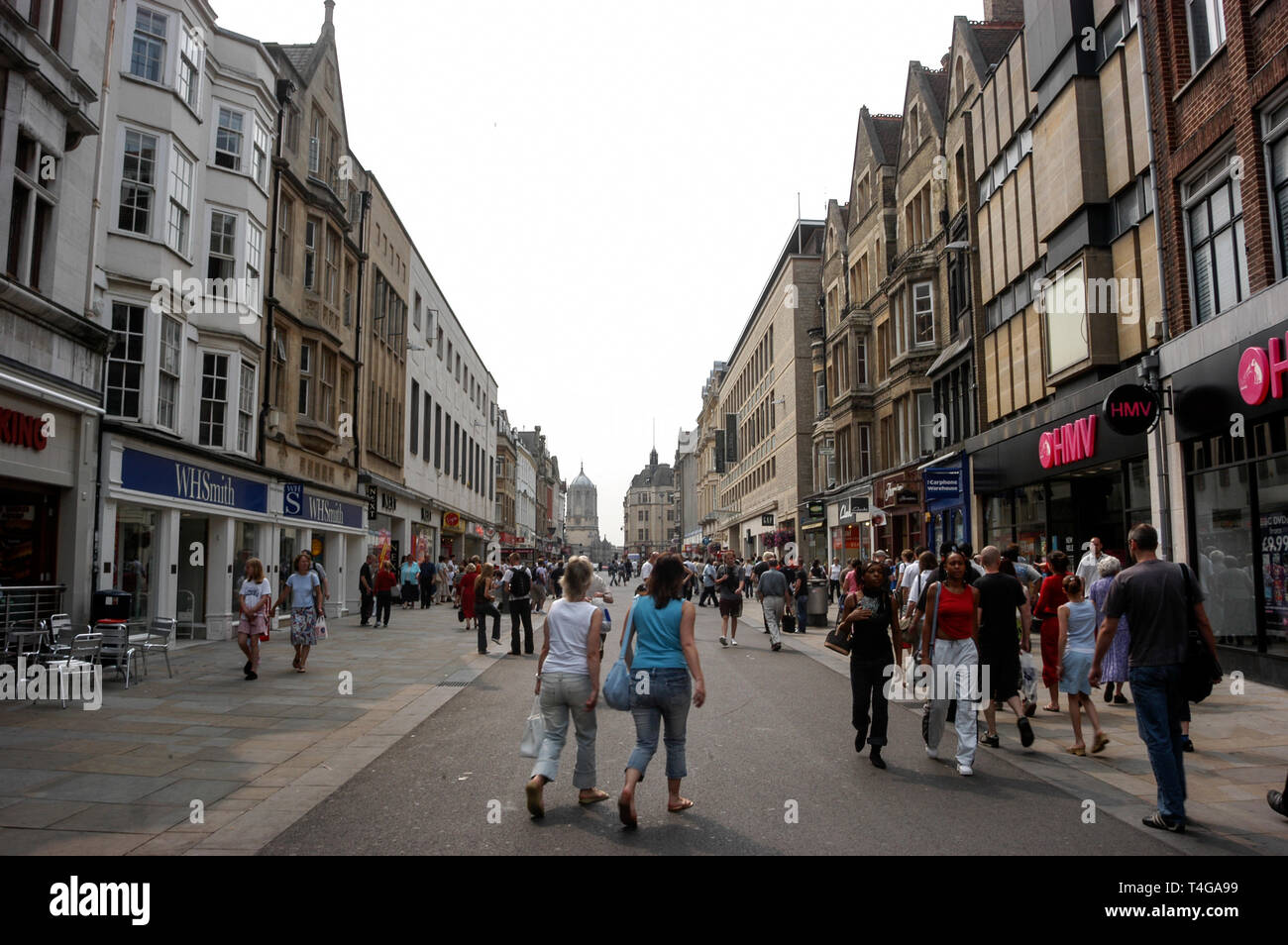 Cornmarket Street (one of the main shopping streets) in Oxford, Britain - Stock Image