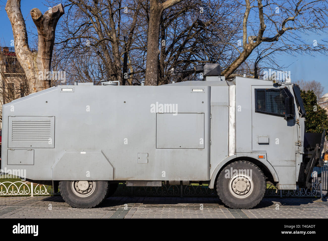 Police water cannon vehicle for social events and riot control - Stock Image