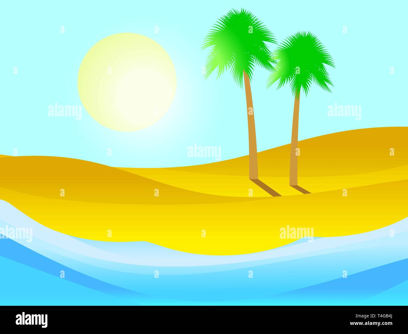Palm tree on the sandy beach. Tropical island, summer landscape. Vector illustration Stock Vector
