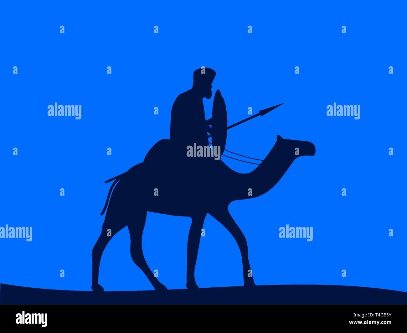 Camel cavalry. Armed rider on a camel. Vector illustration - Stock Vector