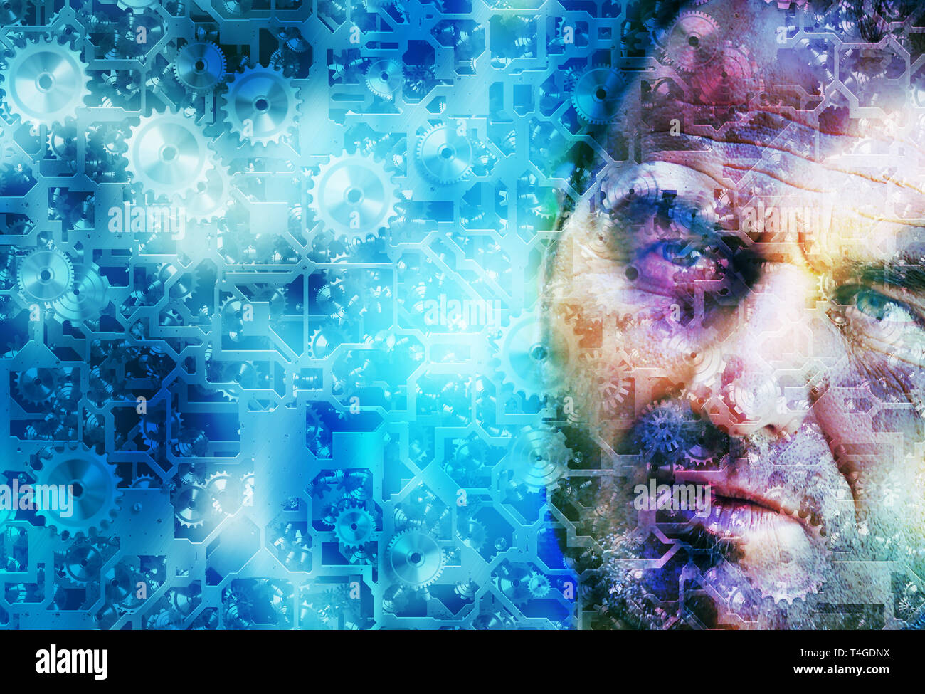 man face and cogwheel background - Stock Image