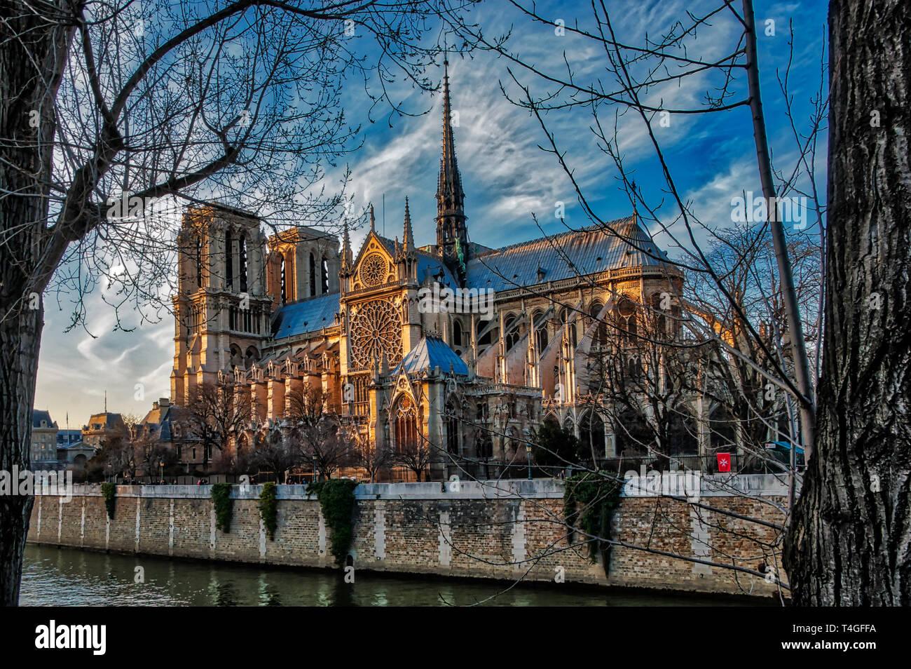 HDR picture of Notre Dame de Paris. - Stock Image