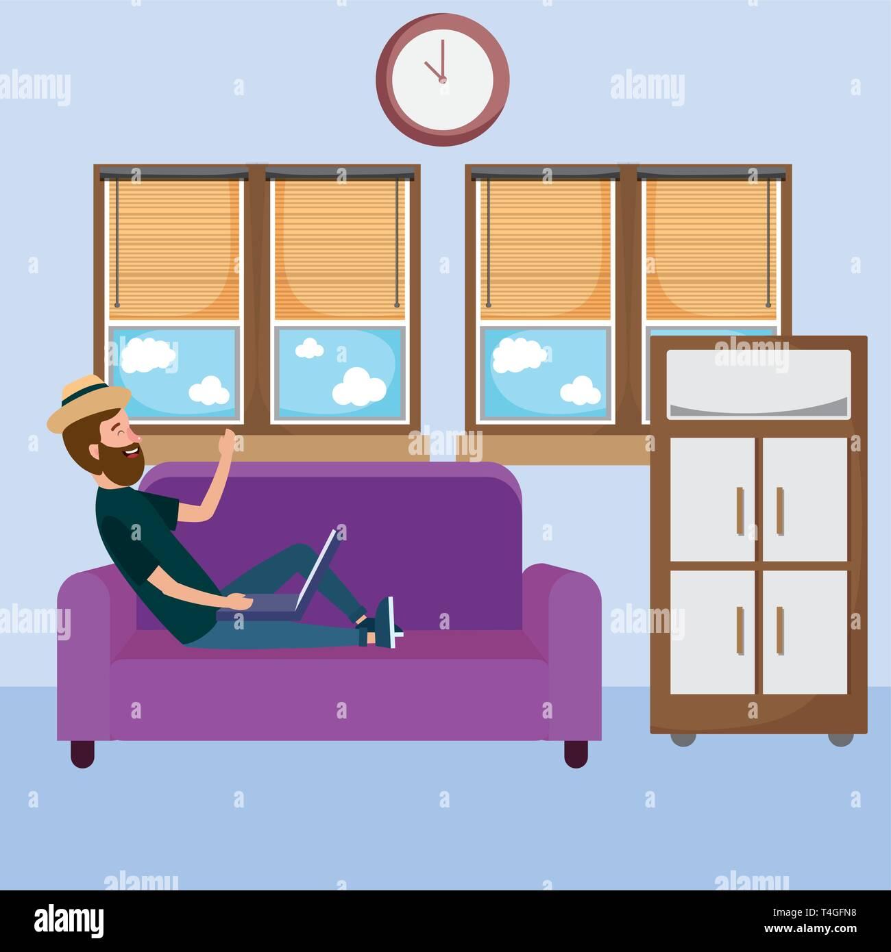 Online Education Man Using Laptop Device Cartoon Vector Illustration Graphic Design Stock Vector Image Art Alamy