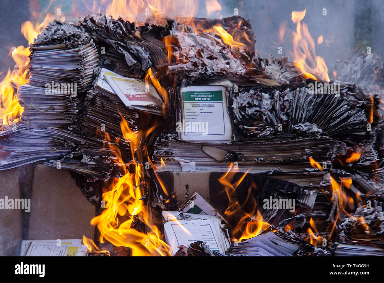 Electoral Ballot Seen Being Burnt Before The Election Day In Lhokseumawe Aceh Province The Election Of Indonesian Presidential Vice Presidential And Parliamentary Candidates Will Be Held Tomorrow On Wednesday April 17 2019 Stock