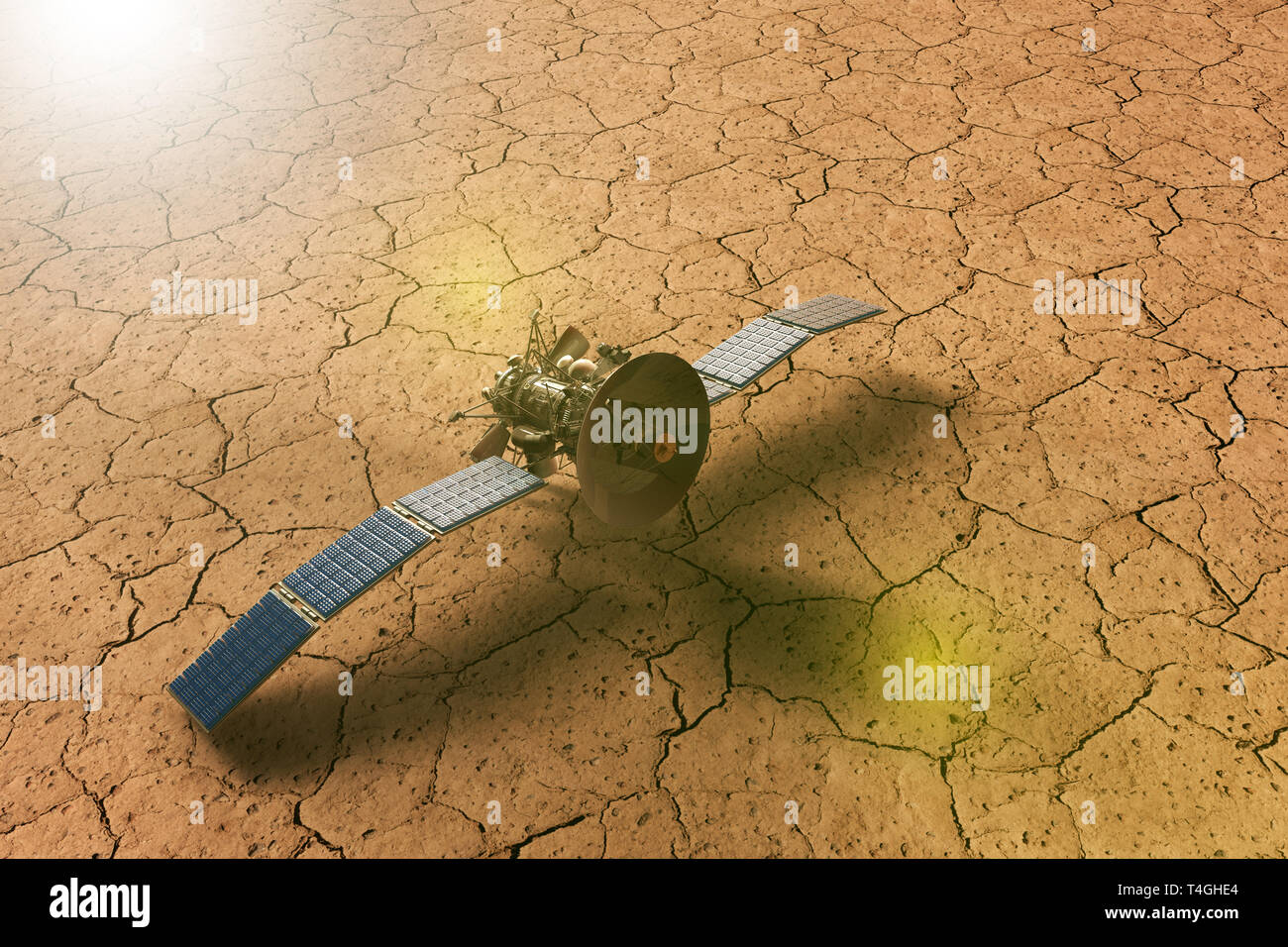 3D rendering of a spacecraft approaching a dry planet - Stock Image