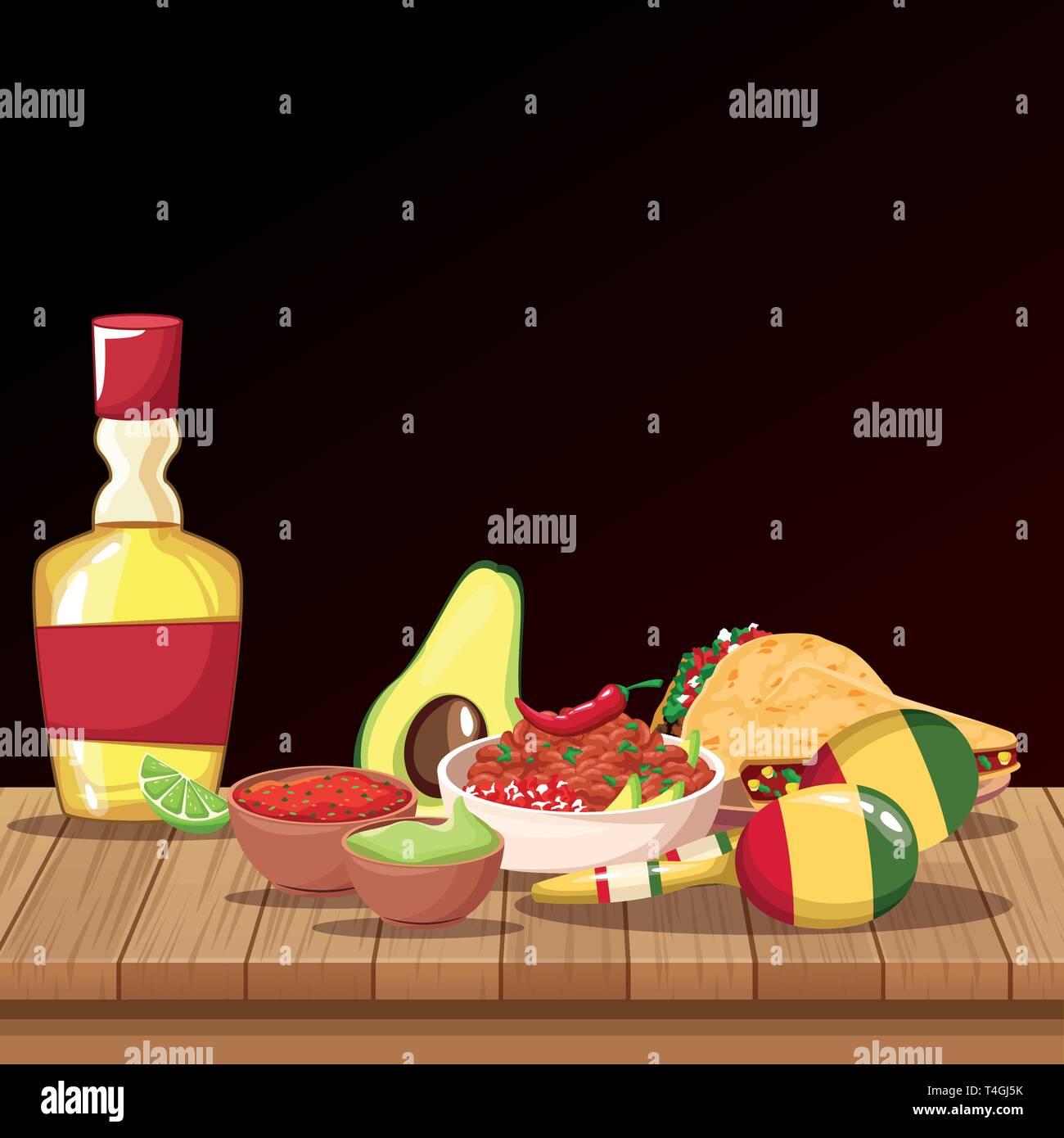Mexican food cartoons Stock Vector