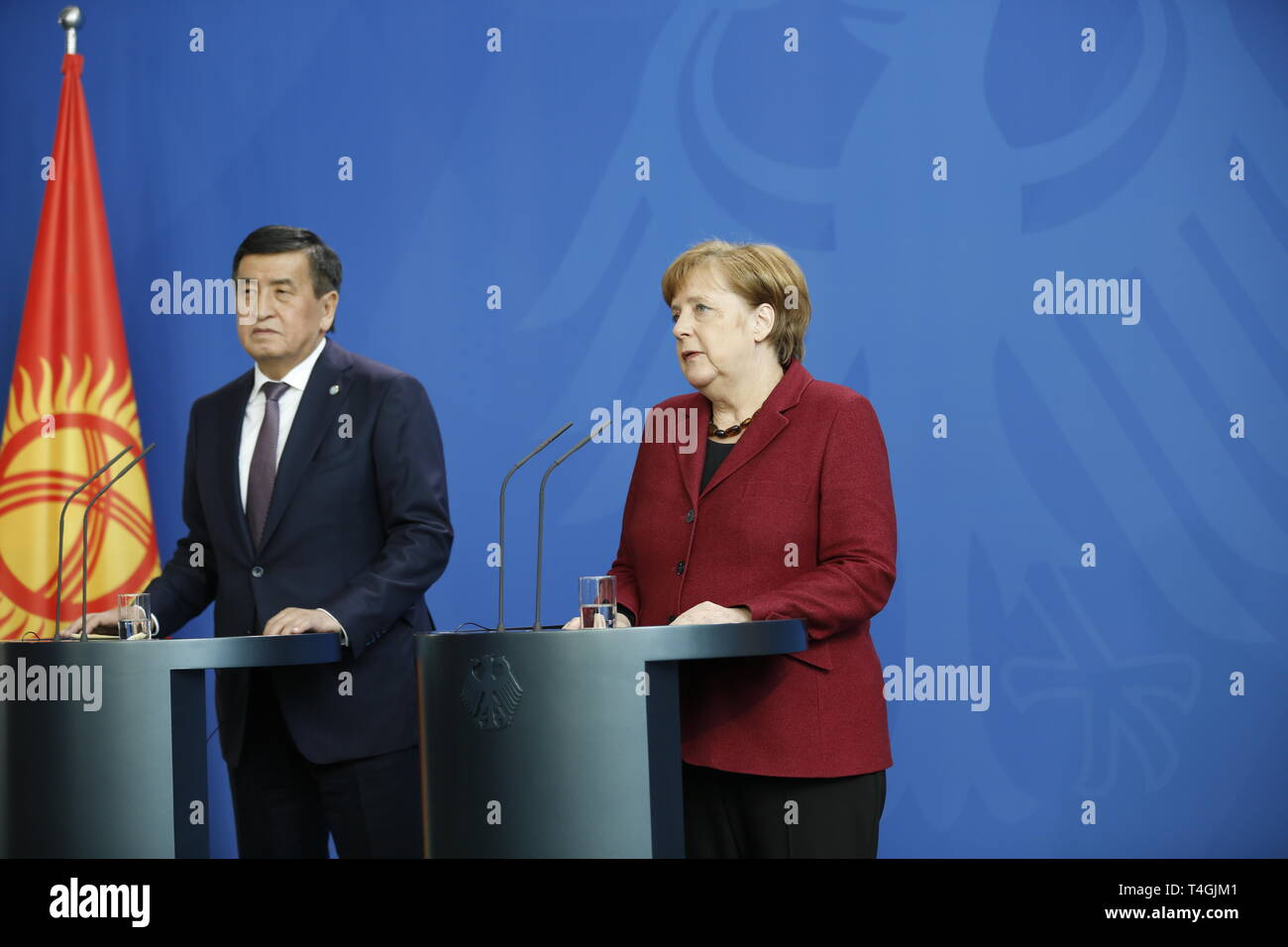 16.04.2019, Berlin, Germany, Chancellor Angela Merkel and the Kyrgyz President, Sooronbaj Dshejenbekow in statements to the press in the Chancellery. - Stock Image