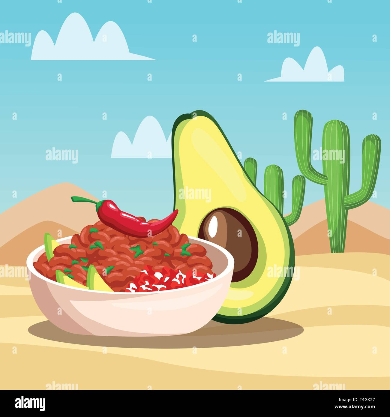 Mexican food cartoons Stock Vector