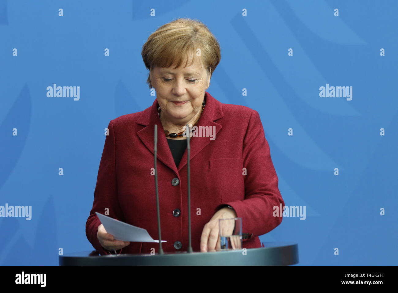16.04.2019, Berlin, Germany, Chancellor Angela Merkel in statements to the press in the Chancellery. - Stock Image