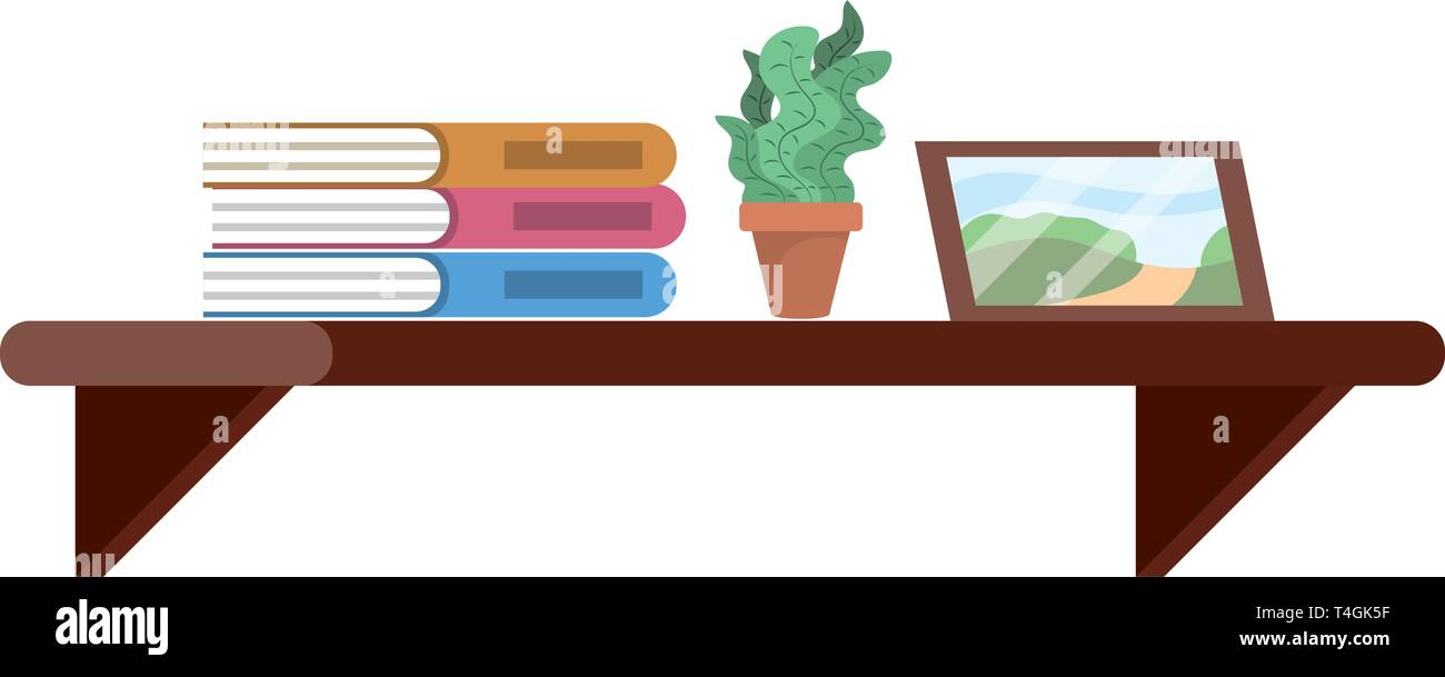 shelf with book plant and picture icon cartoon vector illustration graphic design - Stock Image