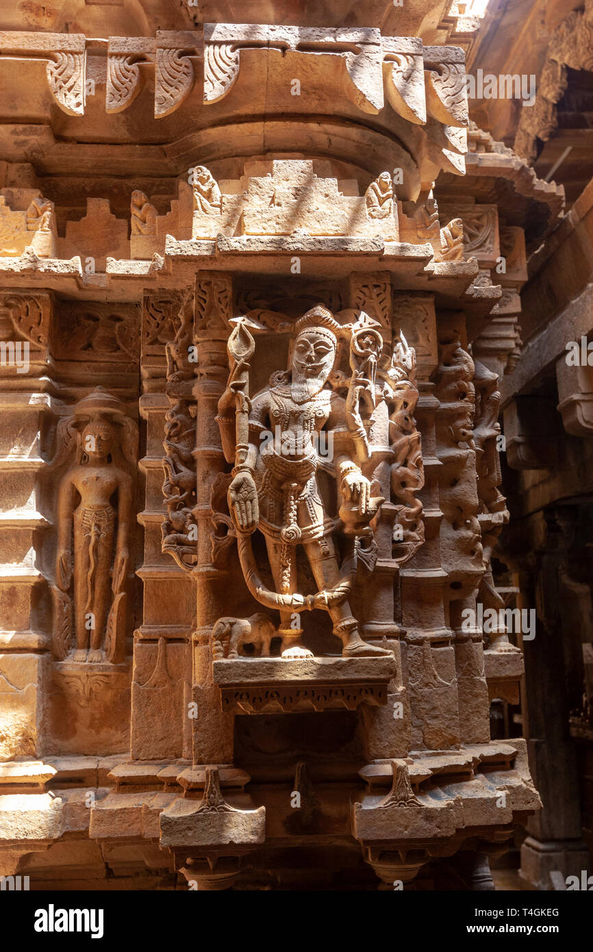 Carved stone figures in Chandraprabhu Jain Temple  jaisalmer, Rajasthan, India - Stock Image