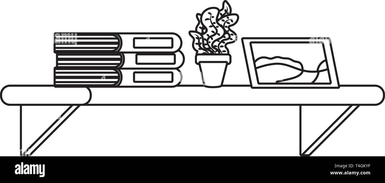 shelf with book plant and picture icon cartoon black and white vector illustration graphic design - Stock Image