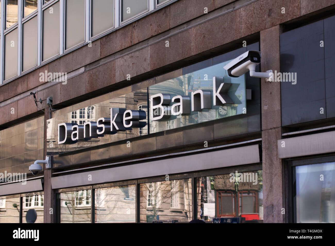 Danske bank logo on front of branch. Danske bank is the largest bank in Denmark and a major retail bank in the northern European region. Copenhagen, D - Stock Image