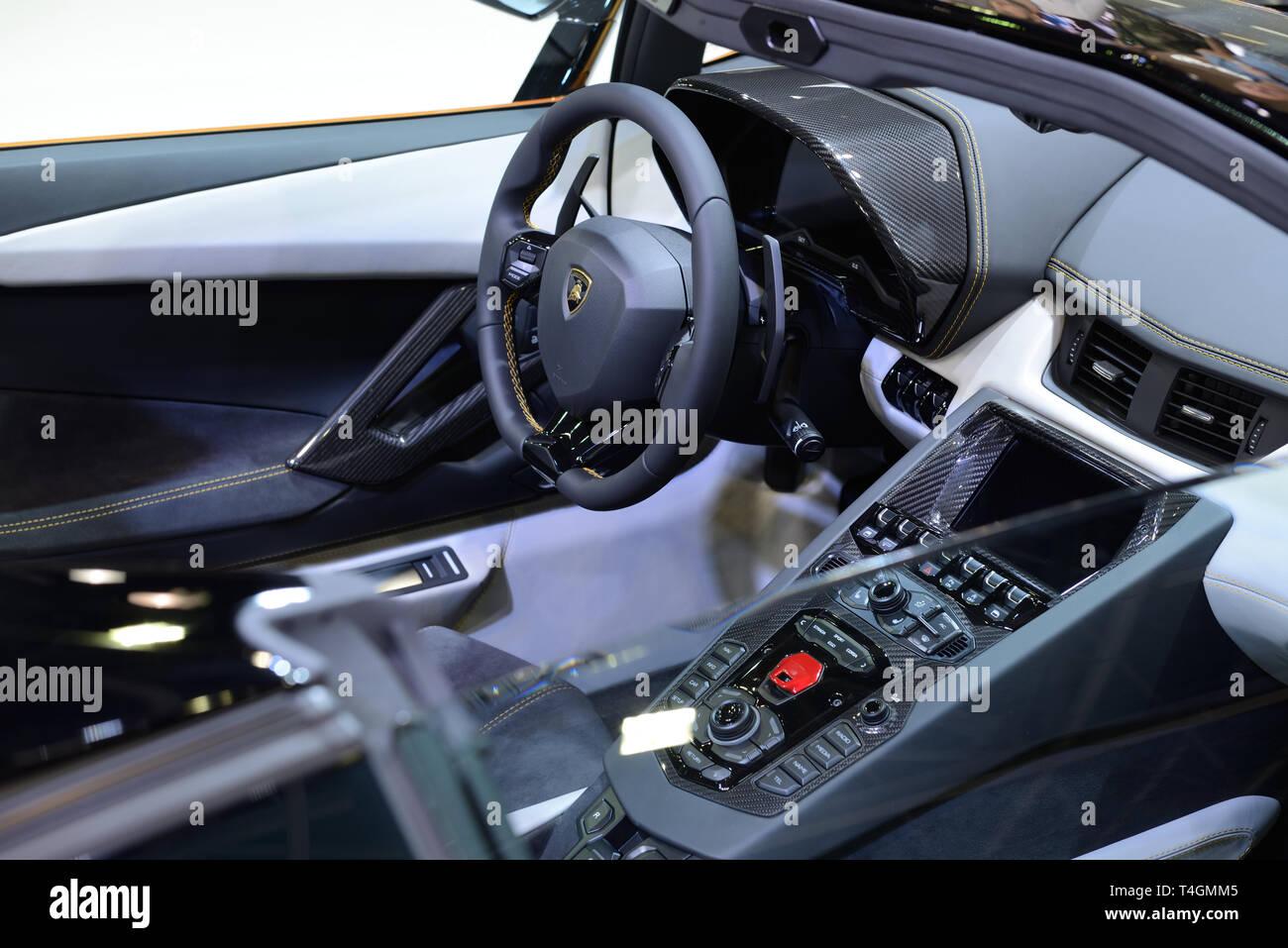 Dubai Uae November 17 The Interior Of Lamborghini Aventador S