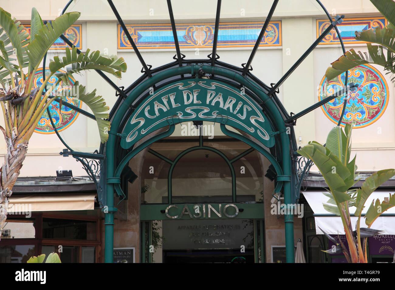 Cafe de Paris, Casino Entrance, Monte Carlo, Monaco, Cote d Azur, Mediterranean, Europe - Stock Image