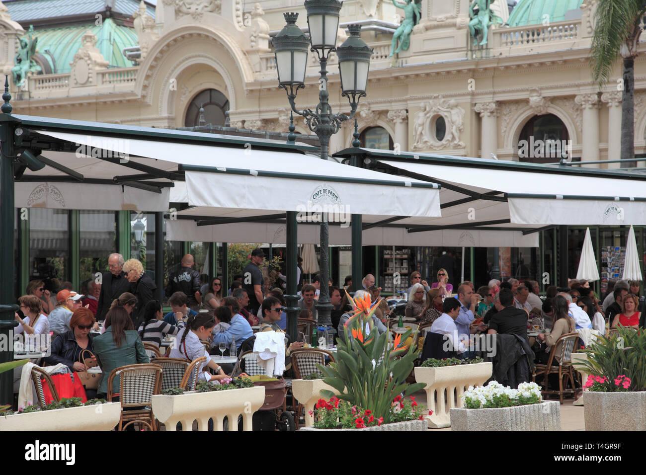 Cafe de Paris, Monte Carlo, Monaco, Cote d Azur, Mediterranean, Europe - Stock Image