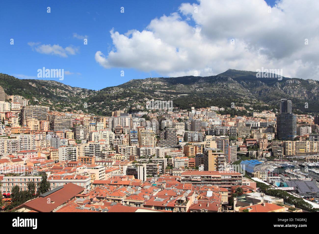 Highrises,La Condamine, Monaco, Cote d Azur, Mediterranean, Europe - Stock Image