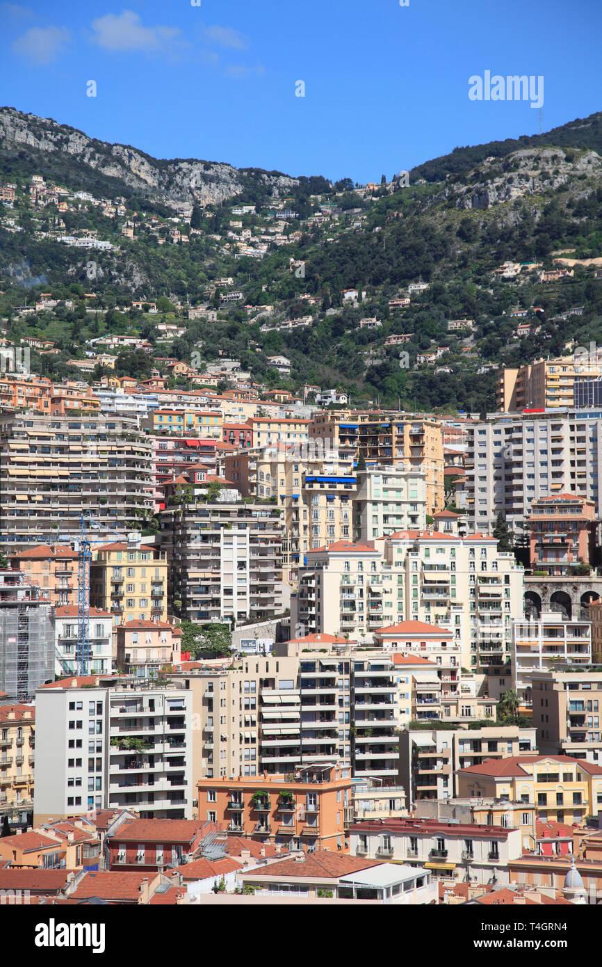 Highrises, Monte Carlo, Monaco, Cote d Azur, Mediterranean, Europe - Stock Image