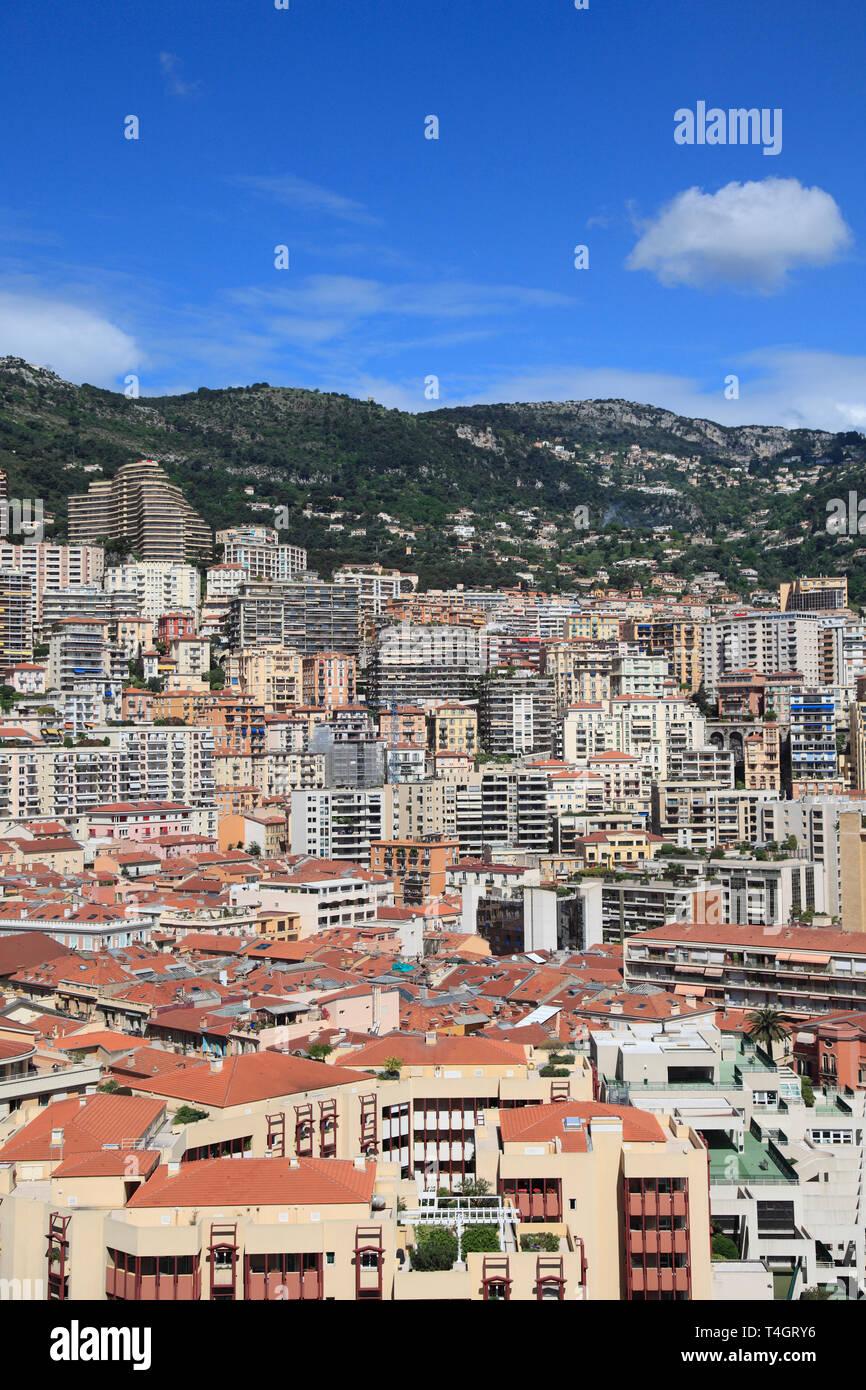 Highrises, La Condamine, Monaco, Cote d Azur, Mediterranean, Europe - Stock Image