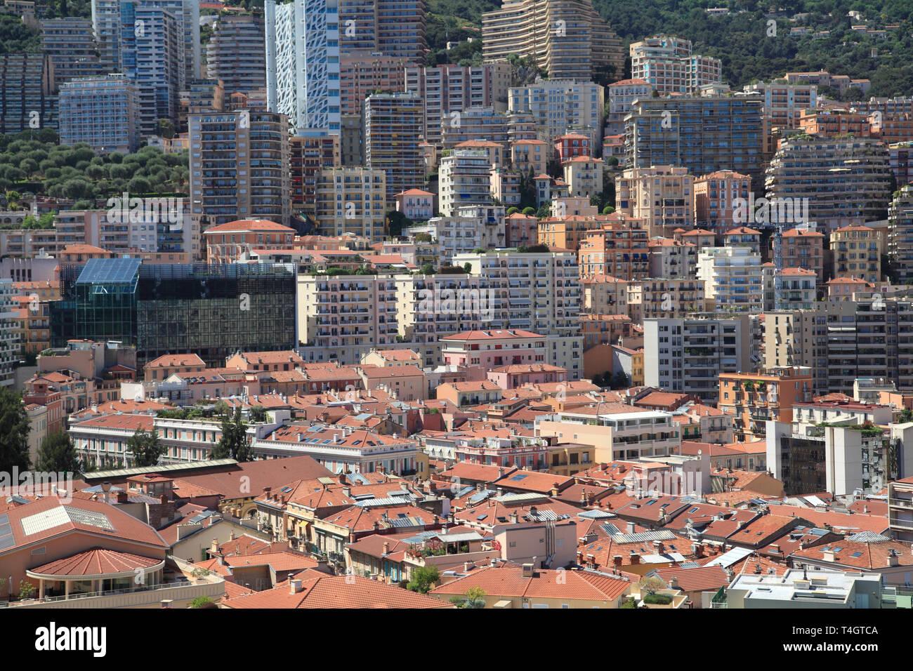 La Condamine, Highrises, Monte Carlo, Monaco, Cote d'Azur, Mediterranean, Europe - Stock Image