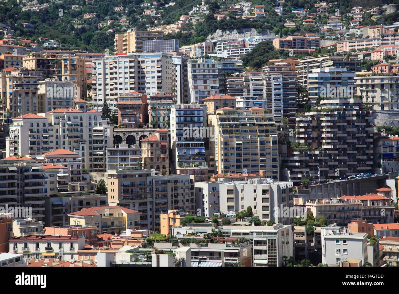 Highrises, Monte Carlo, Monaco, Cote d'Azur, Mediterranean, Europe - Stock Image