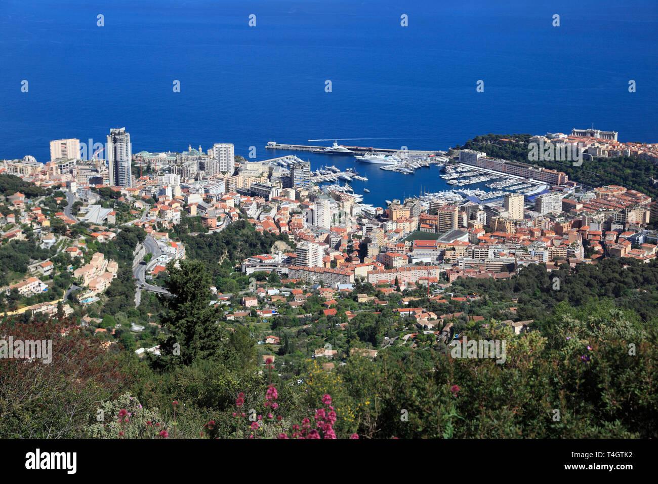 Monaco, Port Hercules , La Condamine, Monte Carlo, Le Rocher (The Rock), Cote d'Azur, Mediterranean, Europe - Stock Image