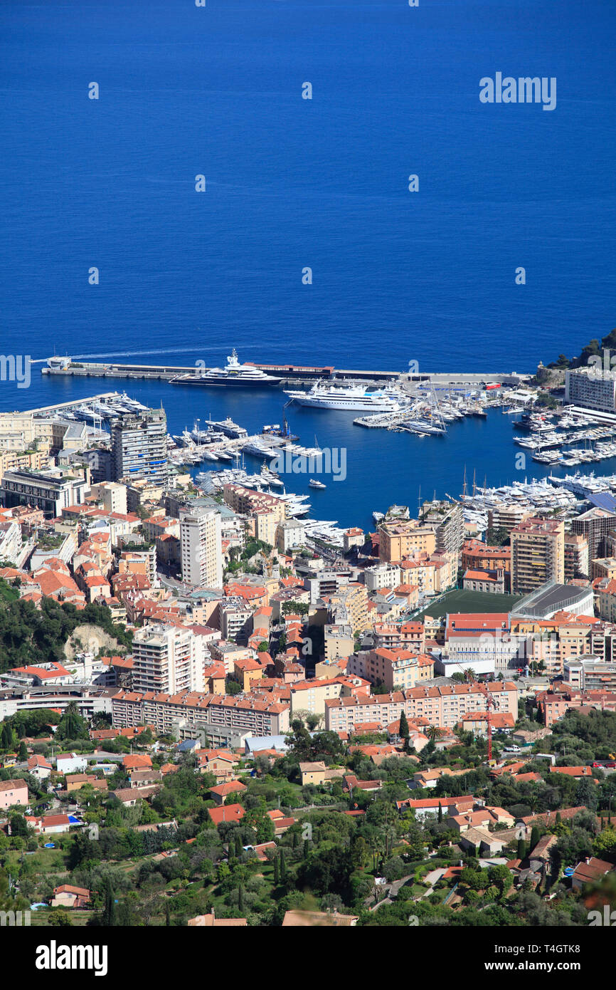 Monaco, Port Hercules, Cote d'Azur, Mediterranean, Europe - Stock Image