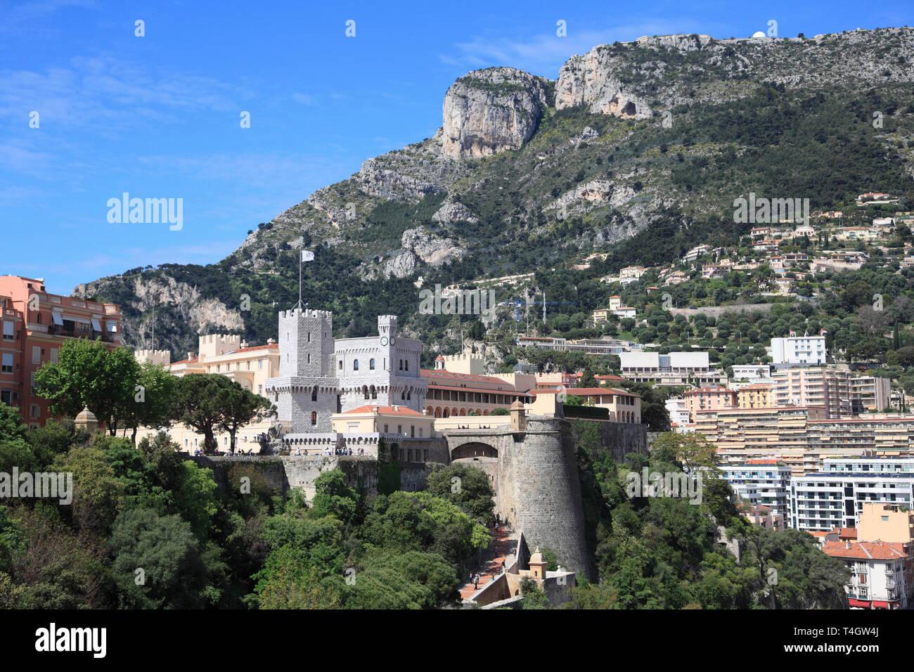 Princes of Grimaldi Palace, Royal Palace, Le Rocher, The Rock, Monaco, Cote d Azur, Mediterranean, Europe - Stock Image