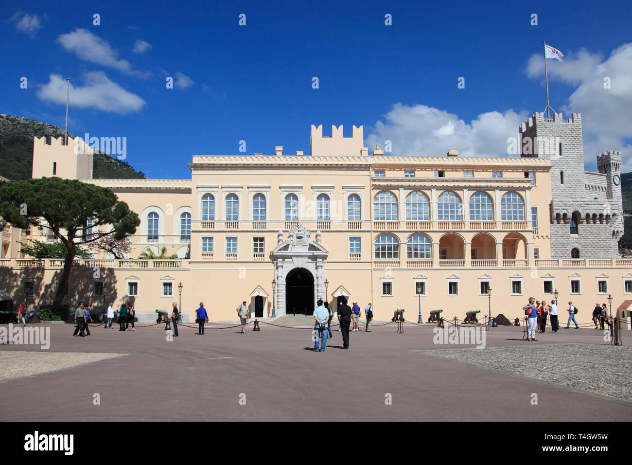 Princes of Grimaldi Palace, Royal Palace, Monaco, Cote d Azur, Mediterranean, Europe - Stock Image