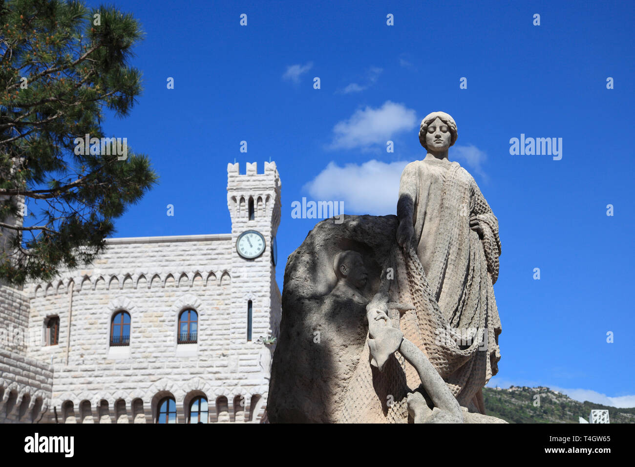 Prince Albert I Statue, Princes of Grimaldi Palace, Royal Palace, Monaco, Cote d Azur, Mediterranean, Europe - Stock Image