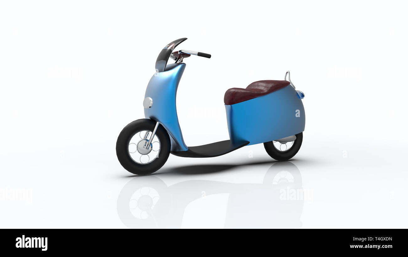 The 3d rendering of electric bike isolated with single color - Stock Image
