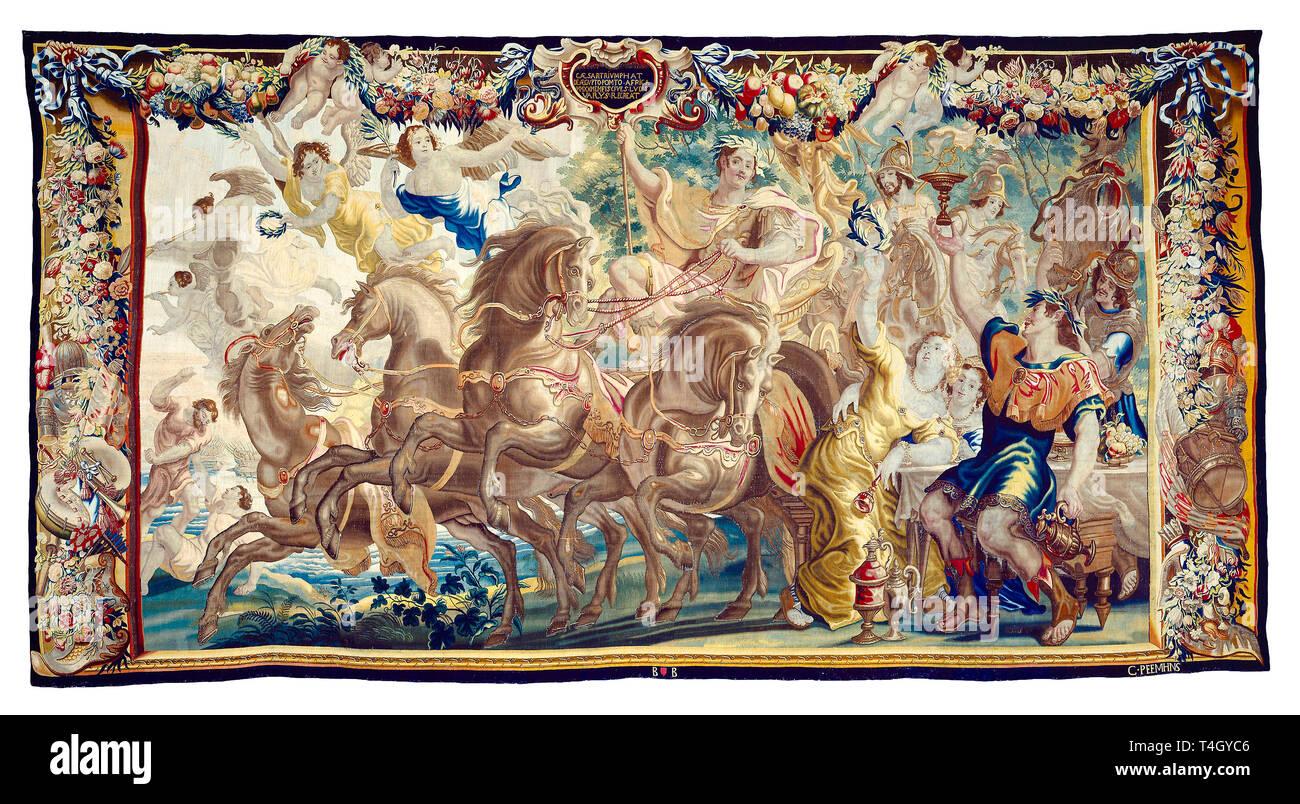 Julius Caesar, The Triumph of Caesar, tapestry, c. 1675 - Stock Image