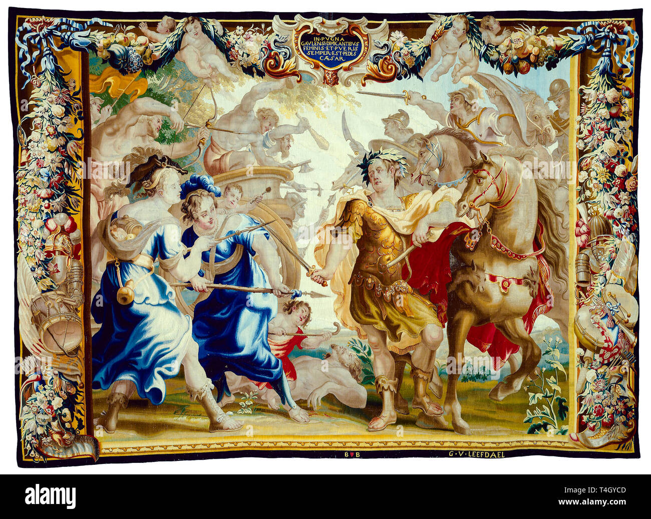 Julius Caesar, Caesar in the Gallic Wars, tapestry, c. 1675 Stock Photo