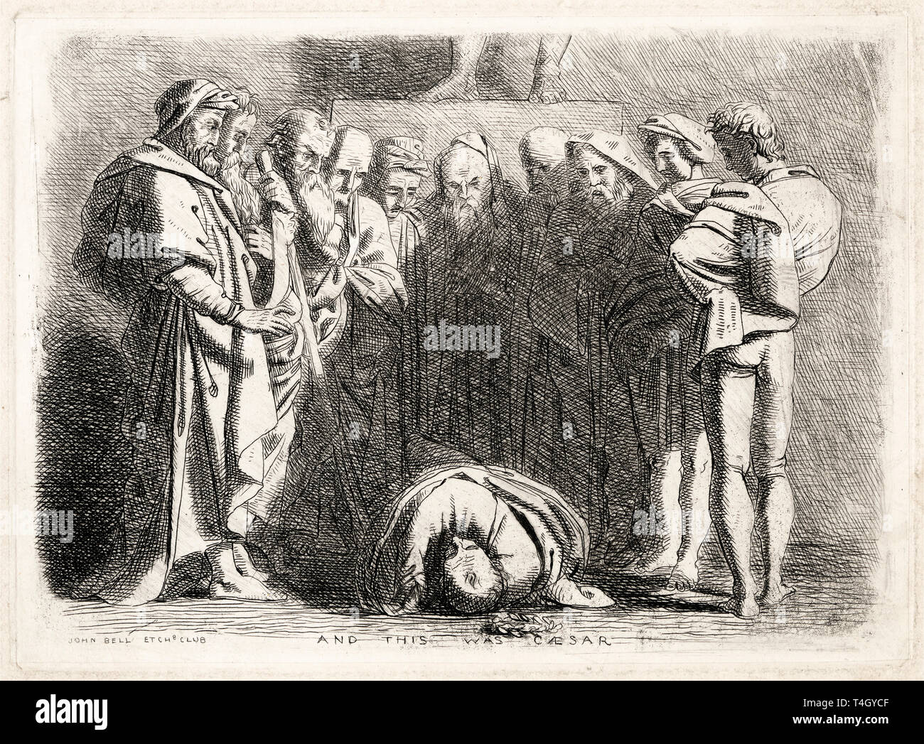 John Bell, And This Was Caesar, etching showing the moments after Julius Caesar's murder, c. 1838 Stock Photo
