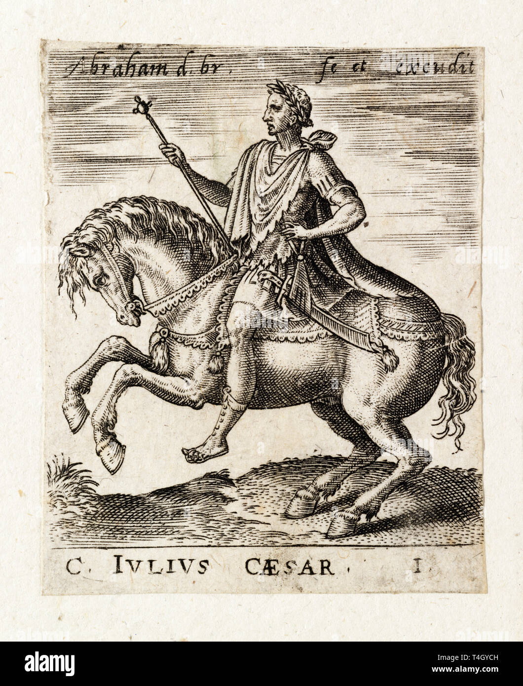 Julius Caesar from Twelve Caesars on Horseback, engraving by Abraham de Bruyn, c. 1565 Stock Photo