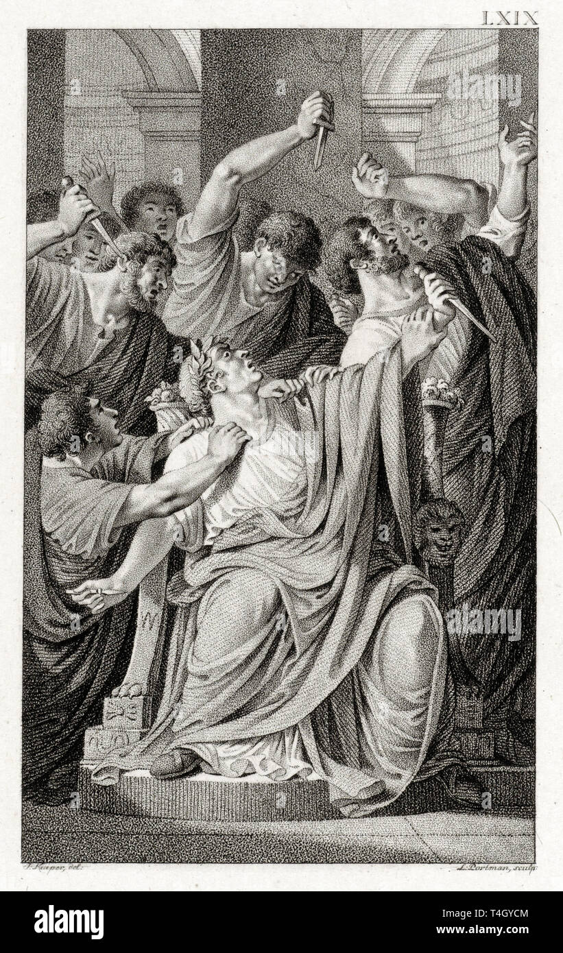 The murder of Julius Caesar, Ludwig Gottlieb Portman, after Jacques Kuyper, etching,1801 Stock Photo