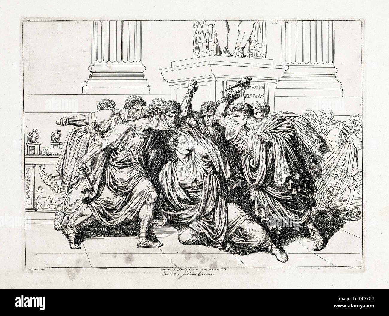 The murder of Julius Caesar, Bartolomeo Pinelli, etching, 1818 Stock Photo