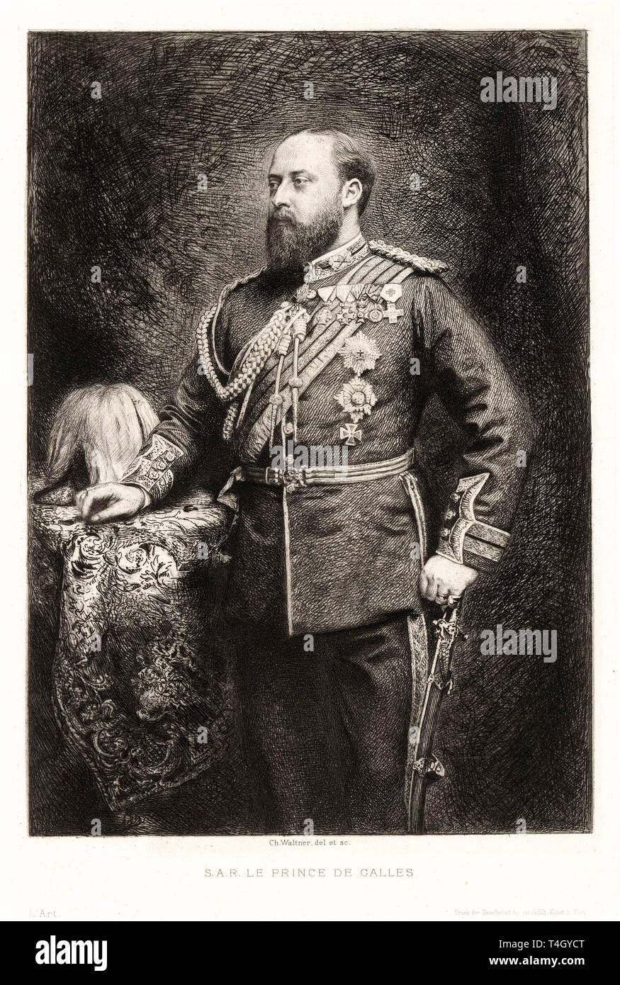 King Edward VII, portrait engraving by Charles Albert Waltner, 1878 - Stock Image