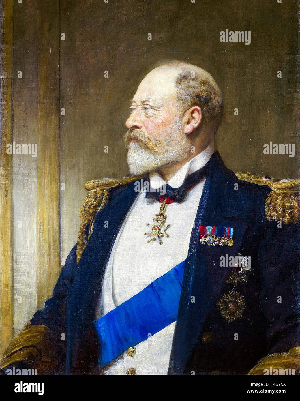Arthur Stockdale Cope, King Edward VII, portrait painting, 1911 - Stock Image