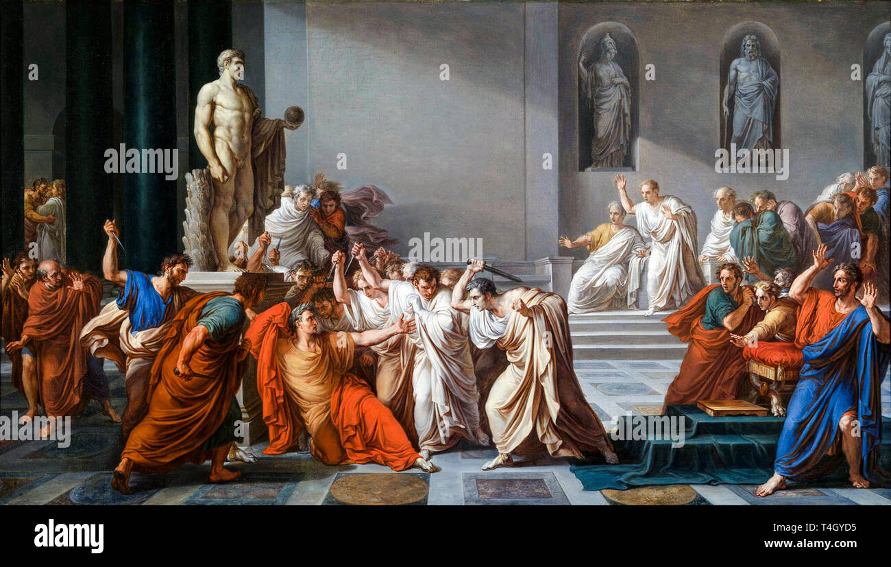 Vincenzo Camuccini, The Assassination of Julius Caesar, painting, c. 1804 Stock Photo