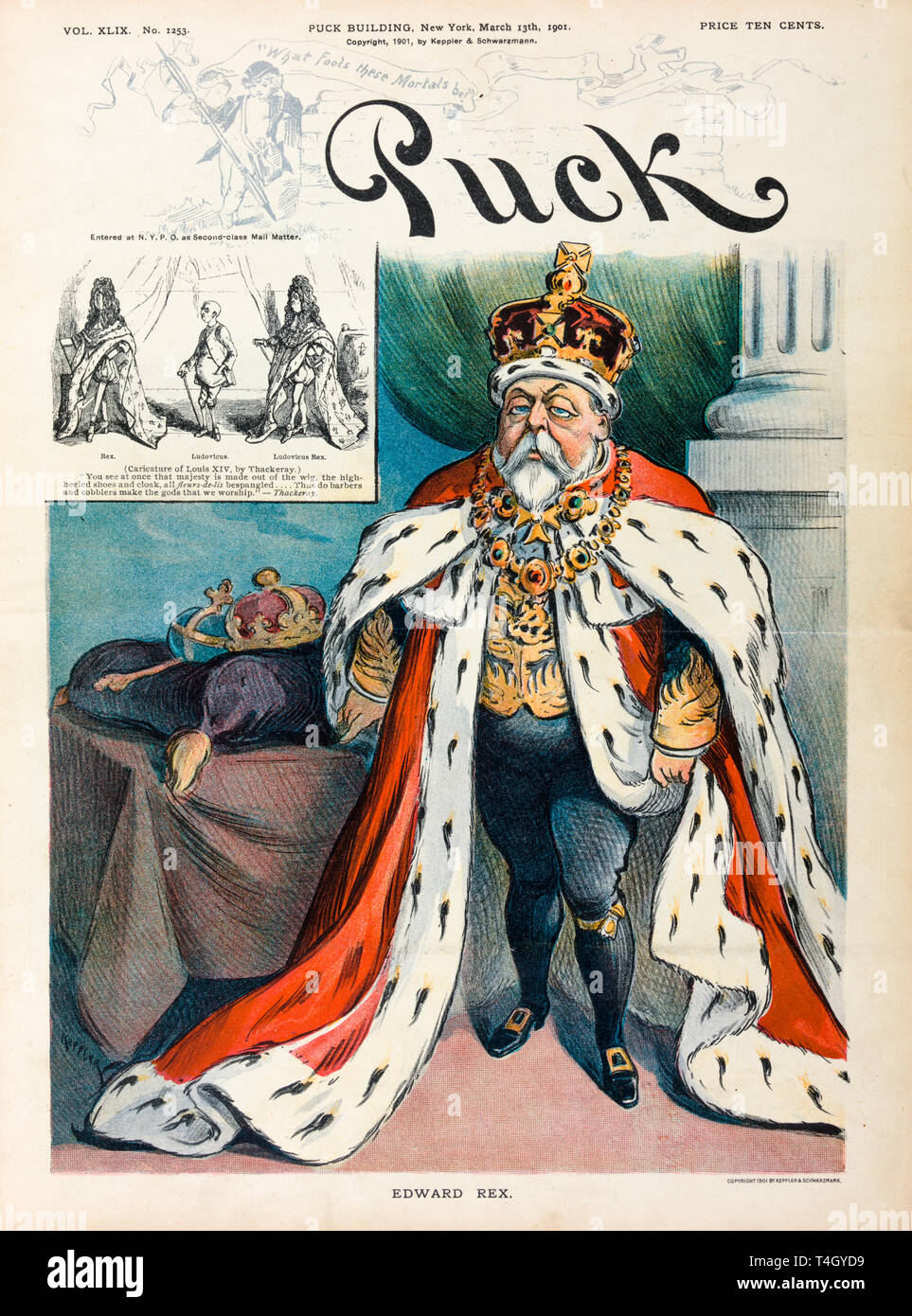 Kind Edward VII, caricature, Puck Magazine cover, March 1901 - Stock Image