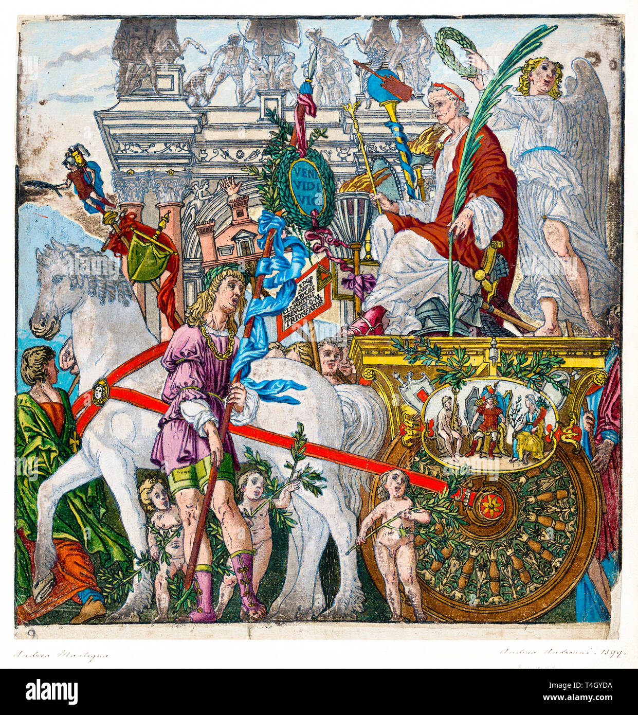 Julius Caesar in his horse-drawn chariot, Andrea Andreani, hand coloured woodcut print, 1599 Stock Photo