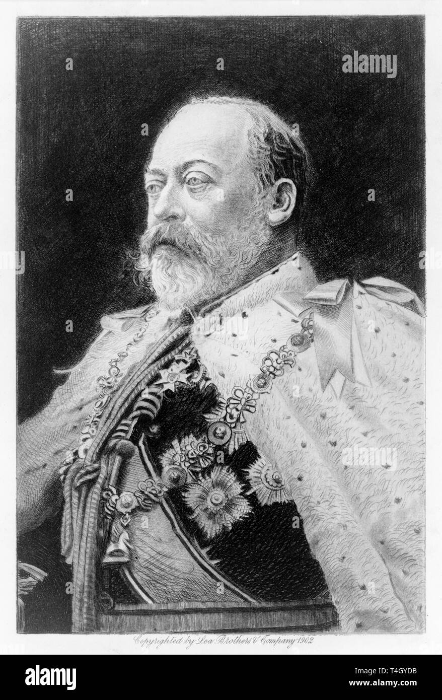 King Edward VII, portrait etching by Franz Raubicheck, 1901 - Stock Image