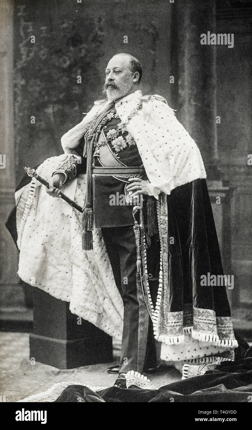 Portrait photograph of King Edward VII of the United Kingdom in his Coronation Robes, 9 August 1902 by W&D Downey - Stock Image