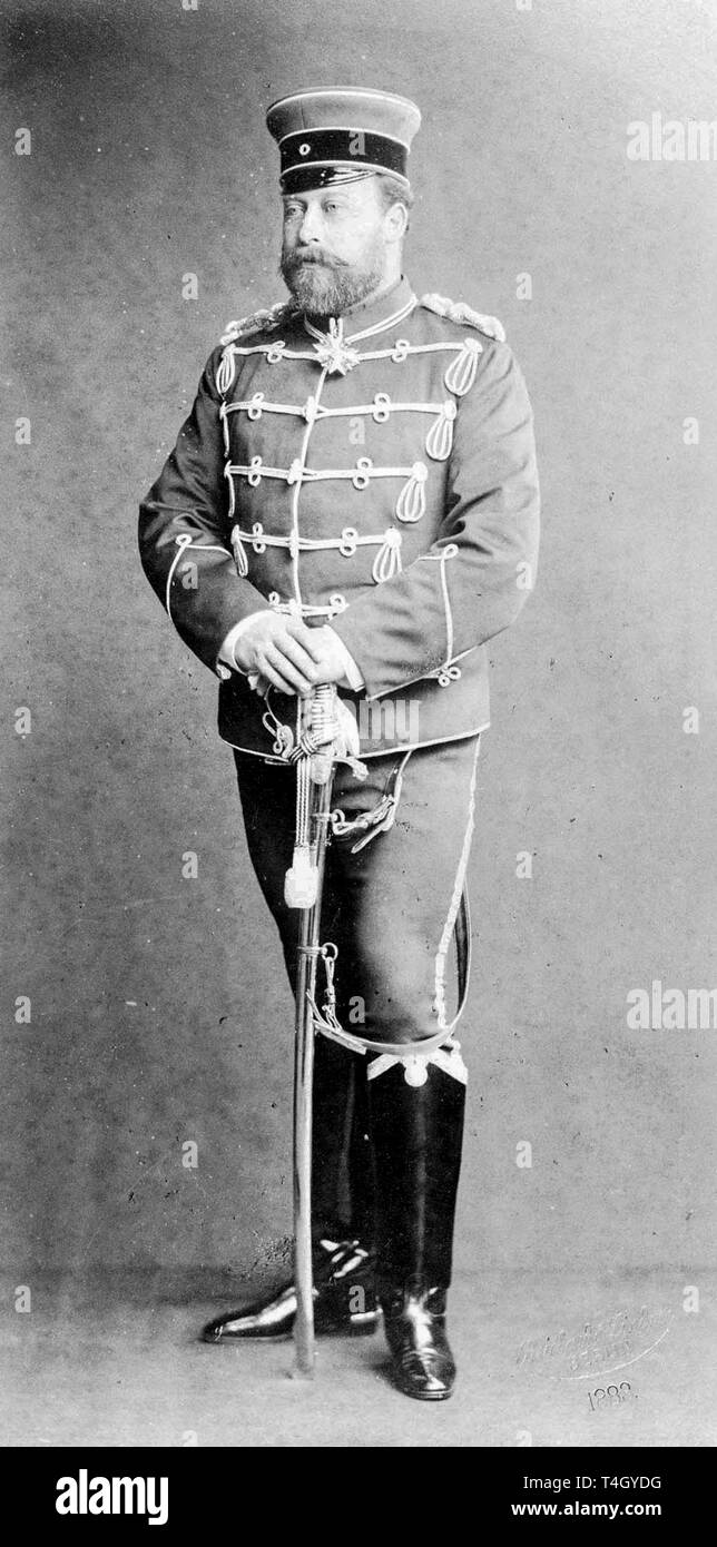 Photograph of Albert Edward, Prince of Wales wearing German military uniform, 1883 Reichard & Lindner Stock Photo
