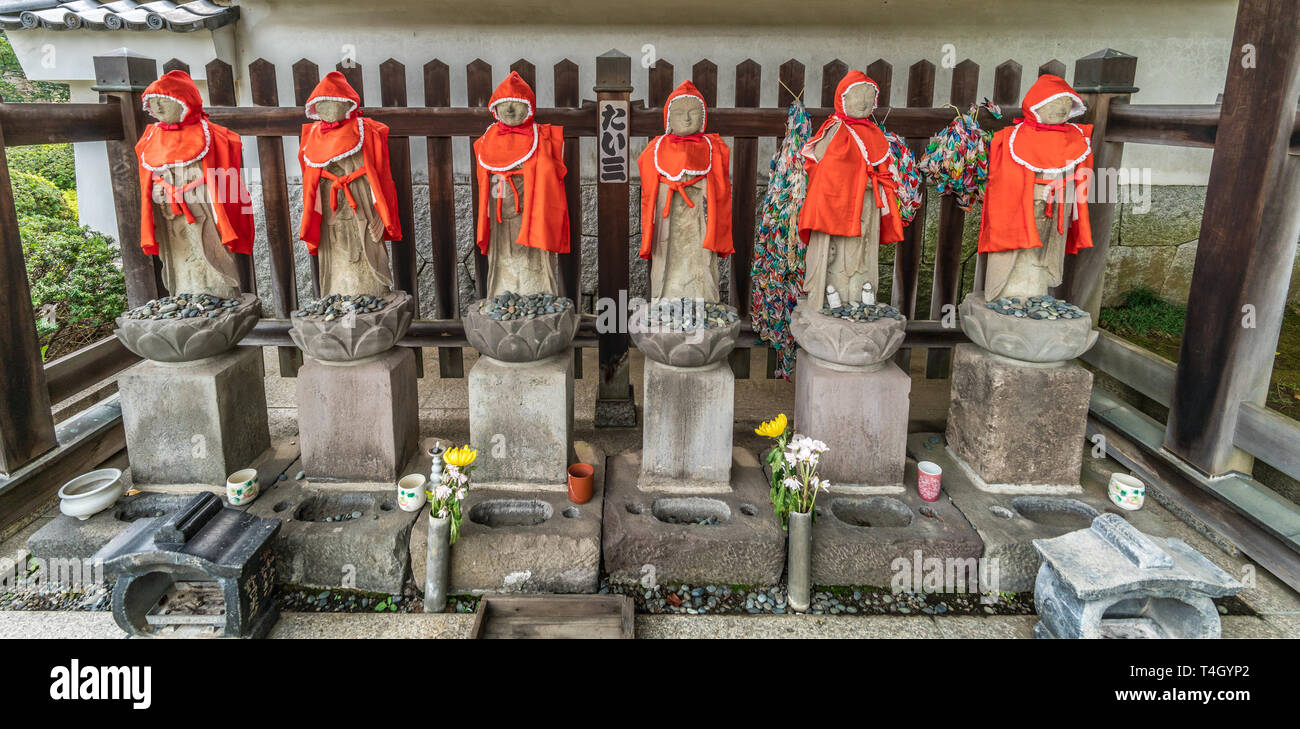 Setagaya, Tokyo, Japan - August 19, 2017: Rokujizo statues at Enjo-in or Enjou-in. Shingon sect, Toyoyama school of Buddhism temple. One of Tamagawa 8 Stock Photo