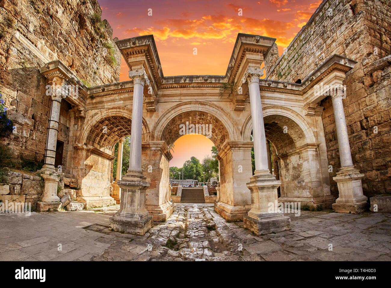Hadrians Gate, Antalya, Turkey - Stock Image