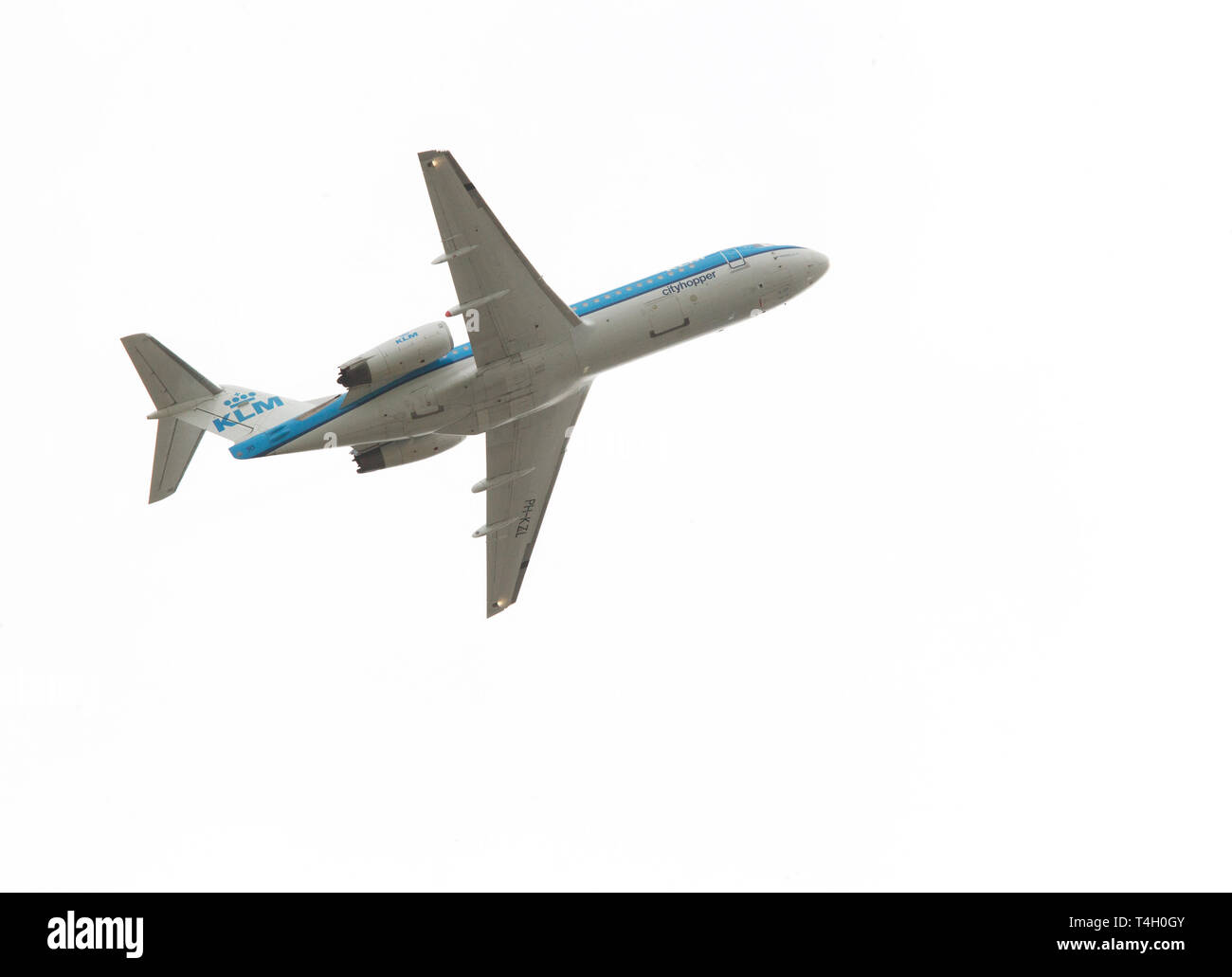 Aircraft from the airline KLM designated PH-KZL, which started from Linköping airport. KLM Royal Dutch Airlines, legally Koninklijke Luchtvaart Maatschappij N.V. (literal translation: Royal Aviation Company, Inc.), is the flag carrier airline of the Netherlands. - Stock Image