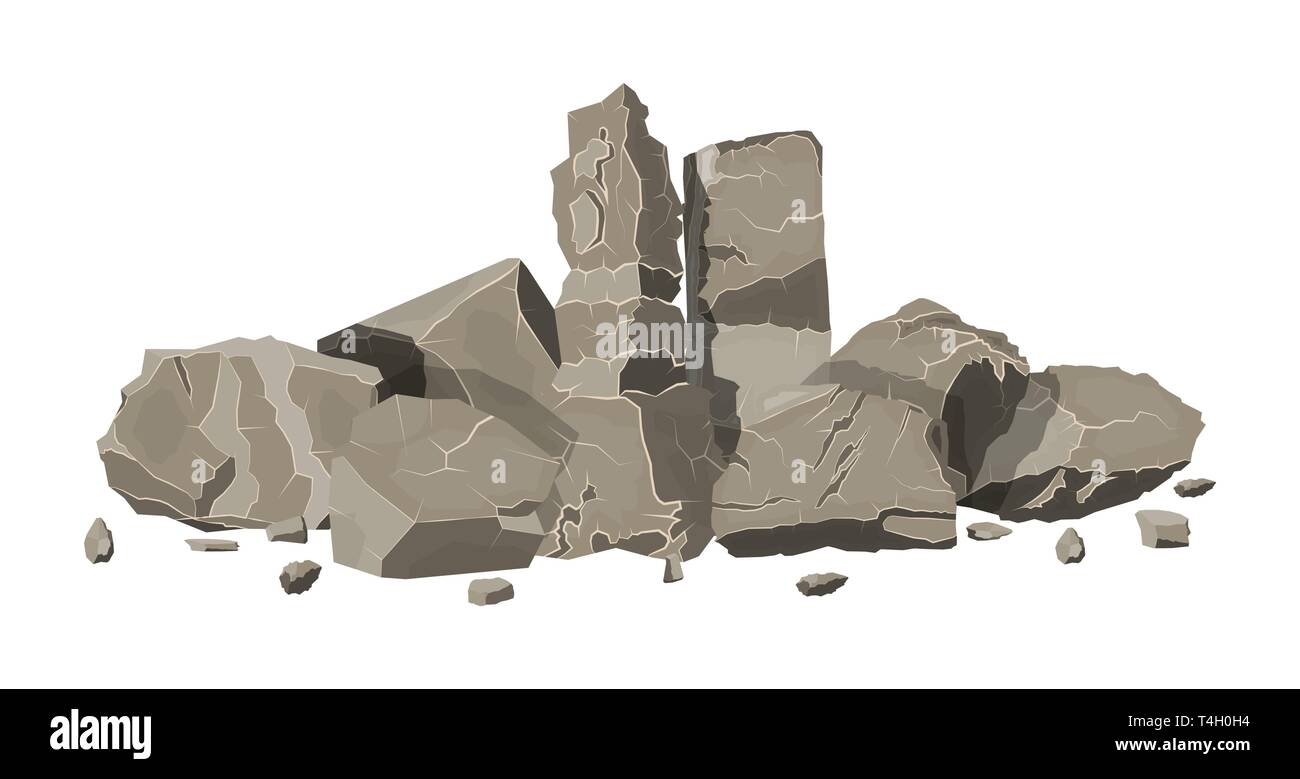 Pile of rock stone  Stones and rocks in variuos sizes  Set of